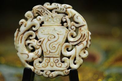 Exquisite Chinese old jade carved *dragon/phoenix* pendant     a03