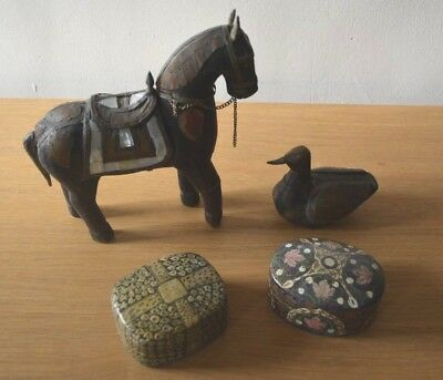Vintage Indian boxes and wooden ornaments
