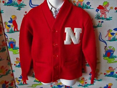 Original Vtg 40s 50's Boys Red Princeton Award All Wool Letterman Cardigan