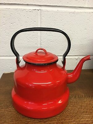 Vintage Bright Red Enamel Stove-Top Kettle / Teapot – Good Condition -Great!
