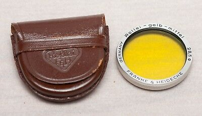 Rolleiflex Medium Yellow Filter with leather case for Bay I Cameras