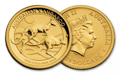 2018 Perth Mint Gold Kangaroo 1/10 oz Bullion Coin