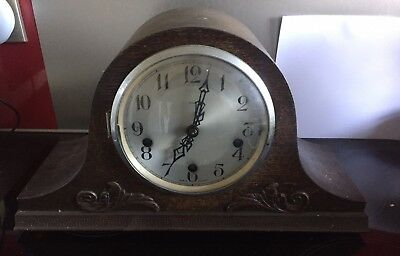 Large Vintage Enfield Wooden Cased Clock Spares Or Repairs Dubros Stores