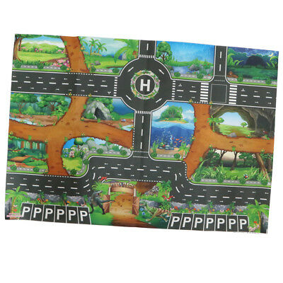 Dinosaur World Traffic Play Mat Rug Carpet Car Vehicles Toy Infant Kid Crawl