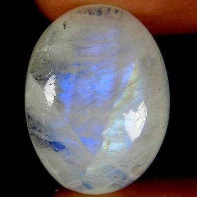 23.80Cts. Natural Blue Flashy Rainbow Moonstone Oval Cabochon Loose Gemstone