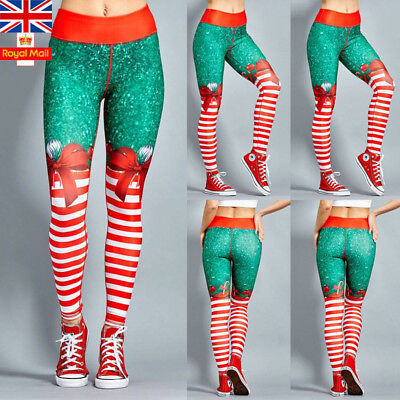 UK Women Christmas Striped Pants Skinny Stretch Ladies Xmas Leggings Trousers