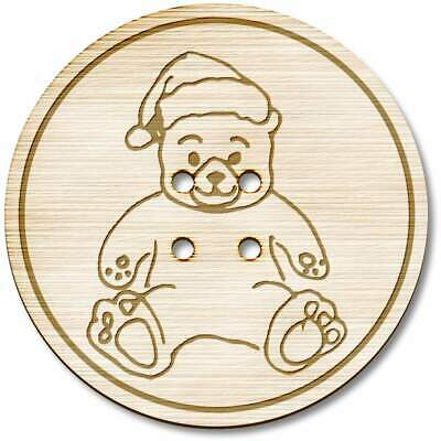 BT00014019 3 x 38mm /'Teddy Bear/' Large Round Wooden Buttons