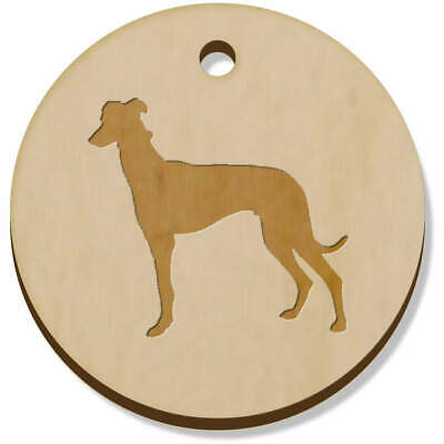 11 x 34mm 'Greyhound Silhouette' Wooden Pendants / Charms (PN00044991)