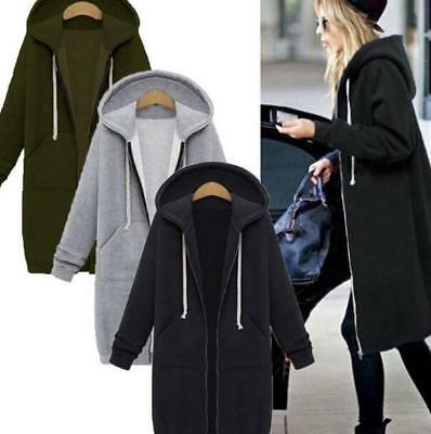 Womens Winter Long Cardigan Solid Color Hooded Warm Thick Poncho Zip Coat Jd_uk