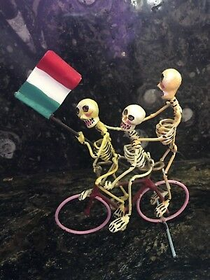 "Vintage Day of the Dead ""Three Skeletons on a Bicycle"" metal art"