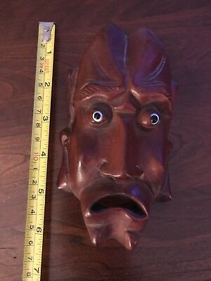 "6"" Vintage Asian Chinese Carved Wood Mask Rosewood Wooden Glass Eyes"