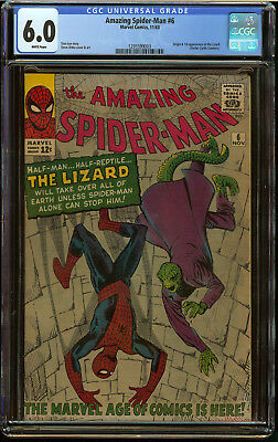 Amazing Spider-Man #6 CGC 6.0 White Pgs Origin First app Lizard Awesome Key Book
