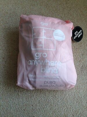 Gro Anywhere Blackout Blind in Pale Pink with carry bag and instructions