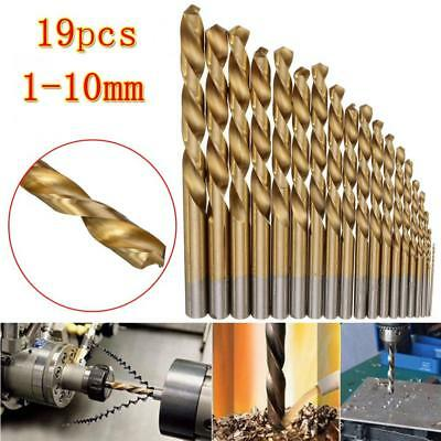 1-10mm 19pcs Manual Twist Drill Bits Titanium Coated HSS High Speed Steel Drill