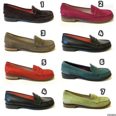 Moshulu Petrel Ladies Womens Slip On Flat Penny Loafers Suede Leather Moccasins
