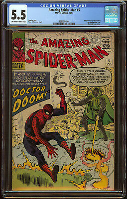 Amazing Spider-Man #5 CGC 5.5 OW/W Pgs First crossover Dr. Doom Nice SA Key Book