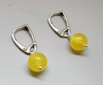 Unique Beautiful Genuine Baltic Amber Earrings Butterscotch English Style Clasps
