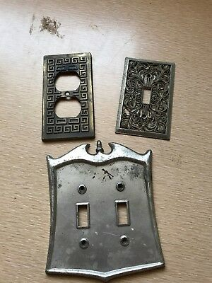 3 Vintage Brass Bronze Metal Wall Outlet Plug Plate Switch Plate Cover