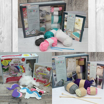 Knitting, Crochet & Unicorn Sewing Beginners Kit Wool Needles Felt Instructions