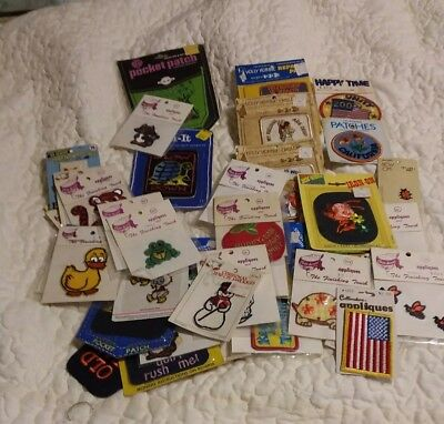 LOT Of 40+  Vintage ASSORTED MISC.Embroidered IRON-ON Sew- On  PATCHES