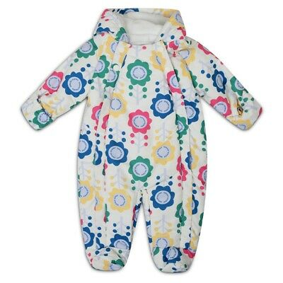 M&S Baby Snowsuit Newborn Floral All in One Pramsuit Ski Suit 0-3 3-6 9-12 12-18