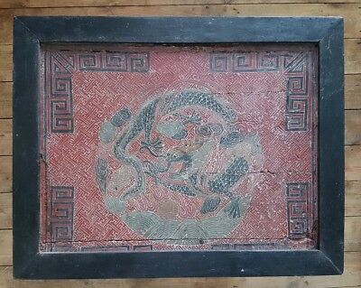 Chinese Qing Dynasty Lacquered Table. Chinese Dragon top Temple table. 1850's.