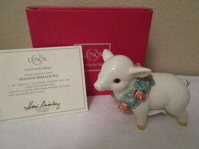 "LENOX ""HOLIDAY WREATH PIG"" Figurine in Box Christmas Pig"