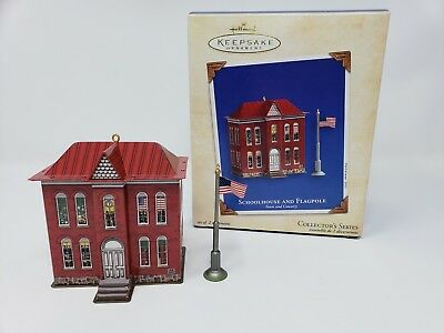 2003 Hallmark Town and Country Series #5 Schoolhouse and Flagpole Ornament 1203
