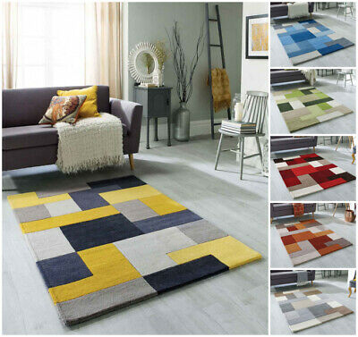 Modern Blocks Multi Coloured 100% Pure Wool Hand Carved Small Large Runner Rugs