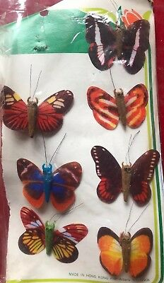 vintage cloth BUTTERFLIES Made in Hong Kong Decoration present floral colorful