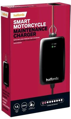 Halfords Motorcycle Battery Smart Maintenance Charger For 6V 12V Motorbikes