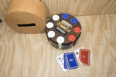 Vintage MHJ Wood Poker Deck & Chip Holder Carousel with Cover & Two Decks
