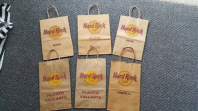 HARD ROCK CAFE 6 Paper Bags - 5 Locations incl. Puerto Vallarta, New York, D.C.