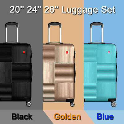 "3 Piece Luggage sets Lightweight Durable Spinner Suitcase Carry On 20"" 24"" 28"""