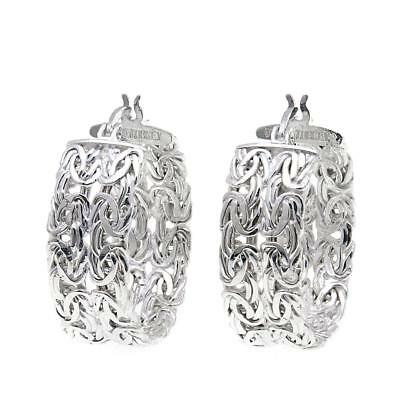 Sevilla Silver Double Row Byzantine Hoop Earrings
