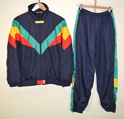 ATELIER VINTAGE 80s 90s FULL SHELL SUIT TRACKSUIT TOP & BOTTOMS RETRO size SMALL