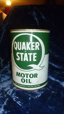Vintage Tin Quaker State Motor Oil 20-20W, full Red top