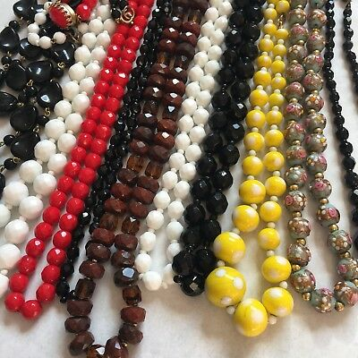 Lot Of Antique & Vintage Heavy Glass Bead Necklaces Jet Black Red Yellow White