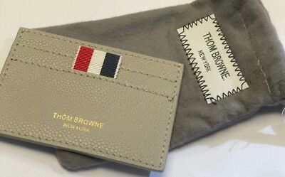2a7fcb85c5 THOM BROWNE GRAY pebble grain Leather Wallet Credit Card Holder ...