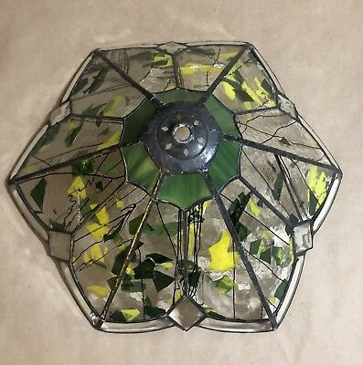Vintage Stained Glass 6 Panel Table Lamp Shade Slag Glass Green Clear Tulip