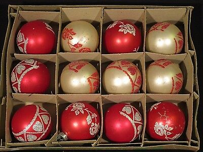 Vintage Glass Christmas Ornaments Lot of 12 Shiny Brites