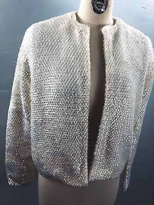 M/L Vtg hand knit sweater-60s Off White Cream wool cardigan iridescent sequins