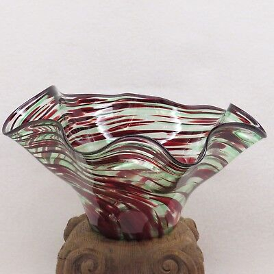 Vintage JOHN BOYETT Hand-Blown Art Glass Ruffled Bowl CANTON GLASS WORKS Signed