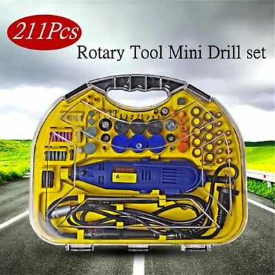 Rotary Tool 211pcs Set Mini Drill Grinder Engraver Sander Polisher Craft Dremel