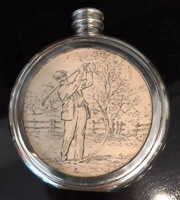 Vintage Pewter Sheffield  English  Flask with Golf Scene Excellent Condition