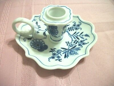 Vintage Finger Candle Holder Blue  Danube  Porcelain Holder Very Lovely