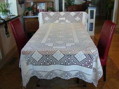 """Vintage Italian Filet Lace Tablecloth, formal 68"""" by 108"""", All Hand-Knotted"""