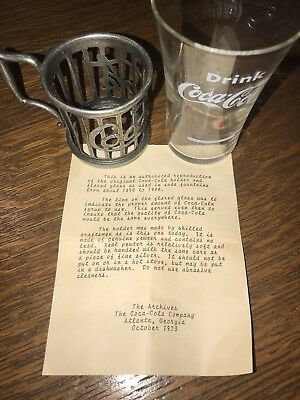 Vintage Soda Fountain Coca Cola Pewter Holder And Flared Glass With Paperwork