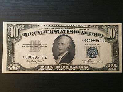 1953 $10 Silver Certificate Uncirculated Star Note Lower Serial Number FR 1706