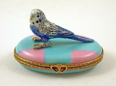 New French Limoges Trinket Box Budgie Budgerigar Parrot Parakeet On Blue Box